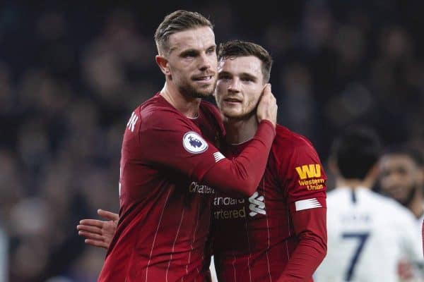 Liverpool's captain Jordan Henderson (L) celebrates with Andy Robertson after the FA Premier League match between Tottenham Hotspur FC and Liverpool FC at the Tottenham Hotspur Stadium. Liverpool won 1-0. (Pic by David Rawcliffe/Propaganda)