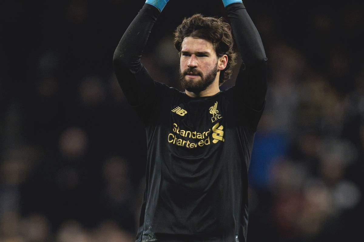 LONDON, ENGLAND - Saturday, January 11, 2020: Liverpool's goalkeeper Alisson Becker celebrates after the FA Premier League match between Tottenham Hotspur FC and Liverpool FC at the Tottenham Hotspur Stadium. Liverpool won 1-0. (Pic by David Rawcliffe/Propaganda)