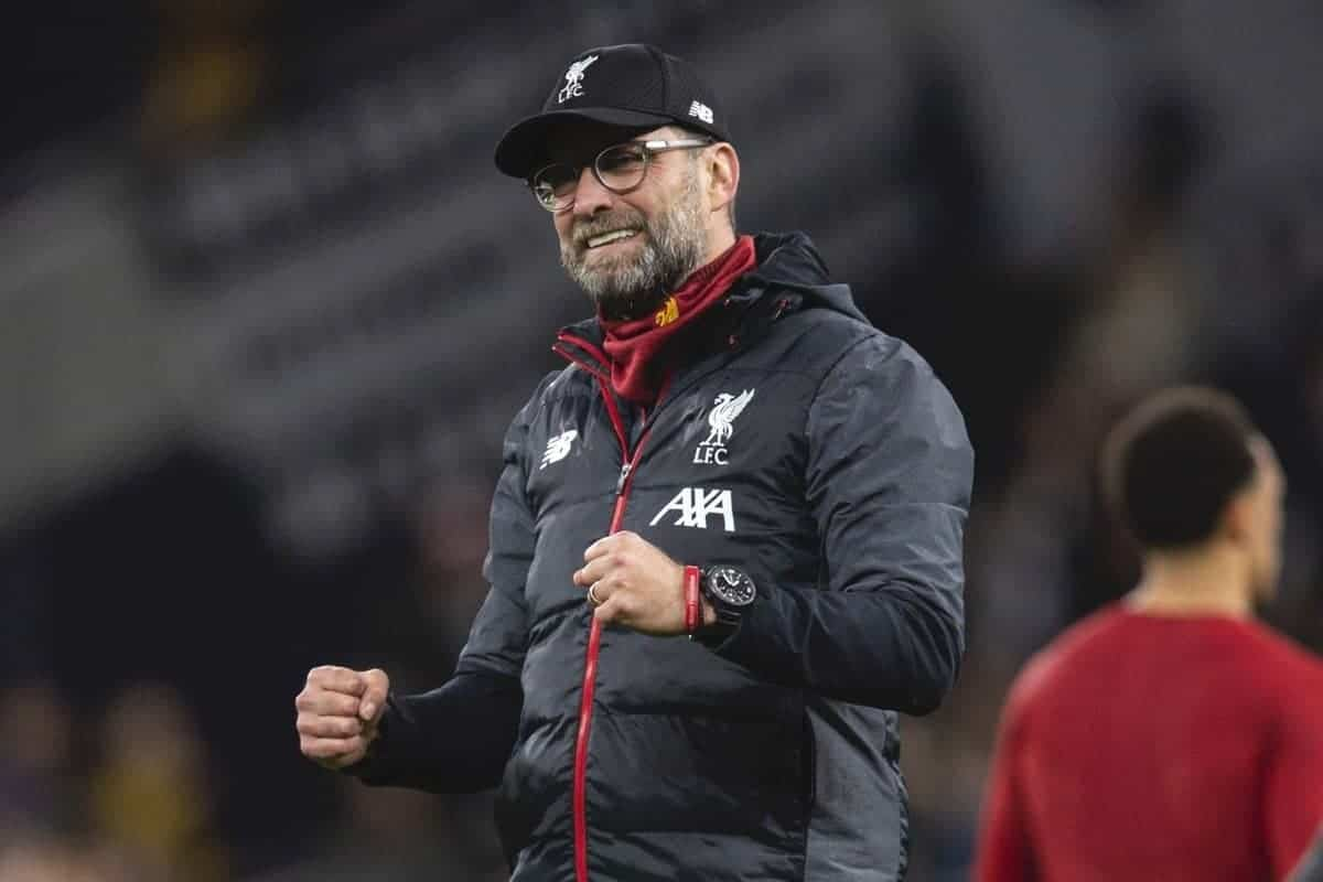 LONDON, ENGLAND - Saturday, January 11, 2020: Liverpool's manager Jürgen Klopp celebrates after the FA Premier League match between Tottenham Hotspur FC and Liverpool FC at the Tottenham Hotspur Stadium. Liverpool won 1-0. (Pic by David Rawcliffe/Propaganda)