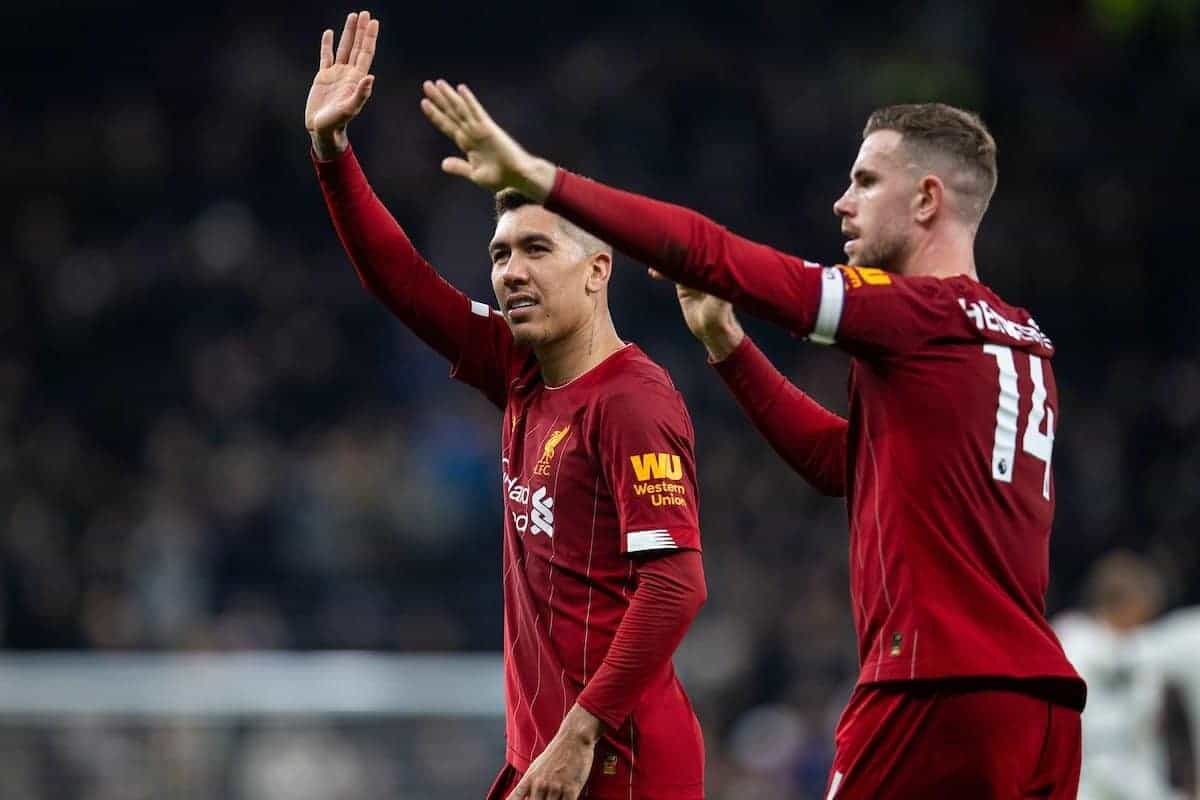LONDON, ENGLAND - Saturday, January 11, 2020: Liverpool's match-winning goal-scorer Roberto Firmino (L) and captain Jordan Henderson celebrate after the FA Premier League match between Tottenham Hotspur FC and Liverpool FC at the Tottenham Hotspur Stadium. Liverpool won 1-0. (Pic by David Rawcliffe/Propaganda)