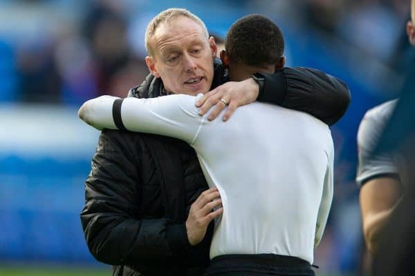 CARDIFF, WALES - Sunday, January 12, 2020: Swansea City's manager Steve Cooper (L) embraces Rhian Brewster after the Football League Championship match between Cardiff City FC and Swansea City FC at the Cardiff City Stadium. The game ended in a goal-less draw. (Pic by David Rawcliffe/Propaganda)