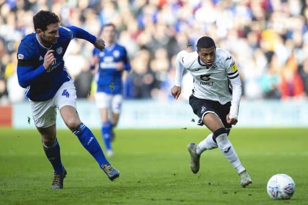 CARDIFF, WALES - Sunday, January 12, 2020: Swansea City's Rhian Brewster during the Football League Championship match between Cardiff City FC and Swansea City FC at the Cardiff City Stadium. (Pic by David Rawcliffe/Propaganda)