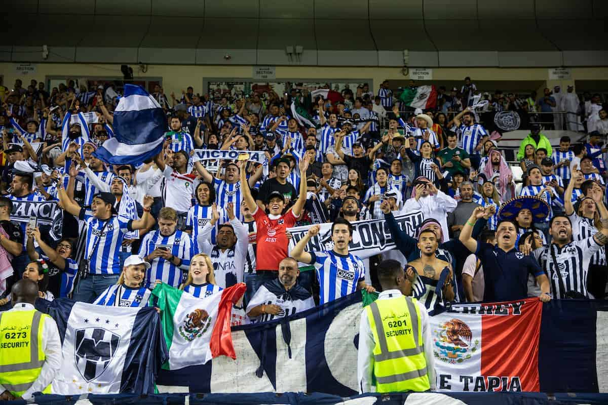DOHA, QATAR - Saturday, December 14, 2019: CF Monterrey supporters celebrate after the FIFA Club World Cup 2nd Round match between C.F. Monterrey and Al-Sadd Sports Club at the Jassim Bin Hamad Stadium. CF Monterrey won 3-2. (Pic by David Rawcliffe/Propaganda)