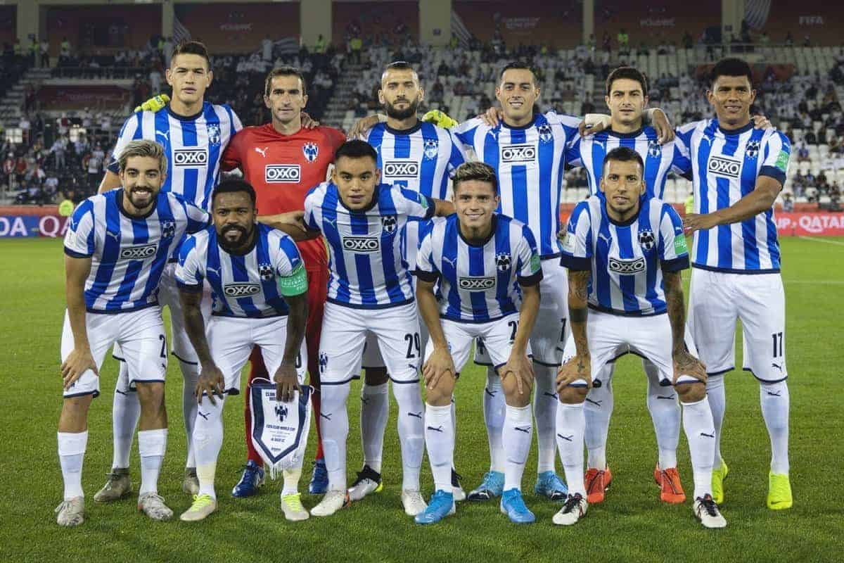 DOHA, QATAR - Saturday, December 14, 2019: CF Monterrey players line-up for a team group photograph before the FIFA Club World Cup 2nd Round match between C.F. Monterrey and Al-Sadd Sports Club at the Jassim Bin Hamad Stadium. (Pic by Valeriya Pak/Propaganda)