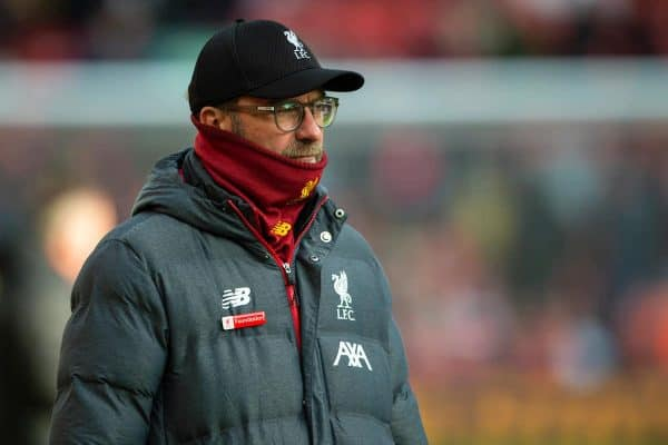 LIVERPOOL, ENGLAND - Saturday, December 14, 2019: Liverpool's manager Jürgen Klopp during the pre-match warm-up before the FA Premier League match between Liverpool FC and Watford FC at Anfield. (Pic by Richard Roberts/Propaganda)