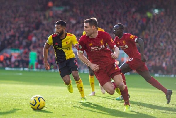 LIVERPOOL, ENGLAND - Saturday, December 14, 2019: Liverpool's James Milner during the FA Premier League match between Liverpool FC and Watford FC at Anfield. (Pic by Richard Roberts/Propaganda)