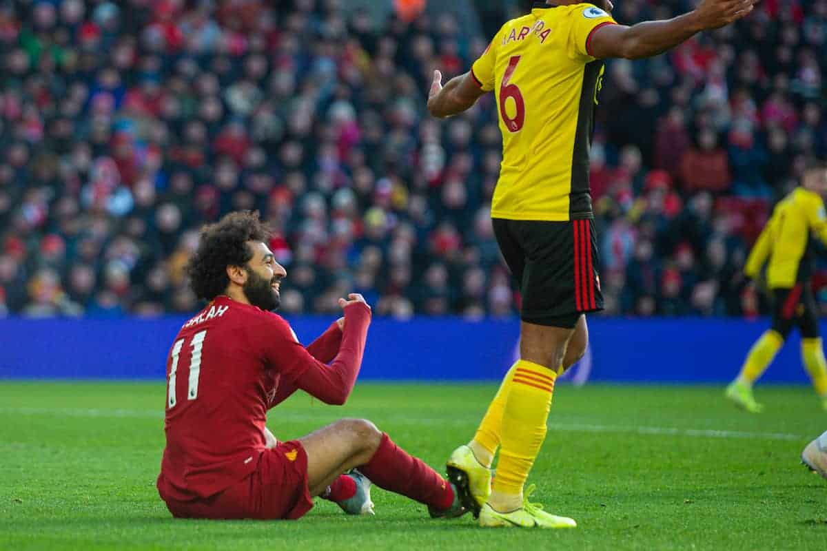 Liverpool's Mohamed Salah appelas for a penalty during the FA Premier League match between Liverpool FC and Watford FC at Anfield. (Pic by Richard Roberts/Propaganda)