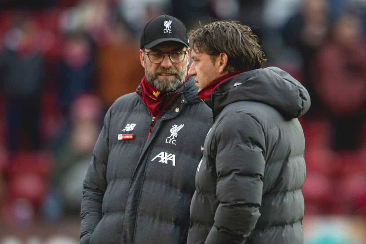 LIVERPOOL, ENGLAND - Saturday, December 14, 2019: Liverpool's manager Jürgen Klopp (L) and assistant manager Peter Krawietz during the FA Premier League match between Liverpool FC and Watford FC at Anfield. (Pic by Richard Roberts/Propaganda)