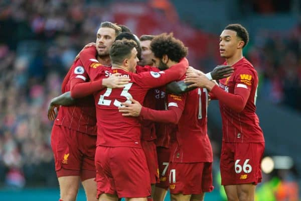 LIVERPOOL, ENGLAND - Saturday, December 14, 2019: Liverpool's Mohamed Salah celebrates scoring the first goal with team-mates during the FA Premier League match between Liverpool FC and Watford FC at Anfield. (Pic by Richard Roberts/Propaganda)