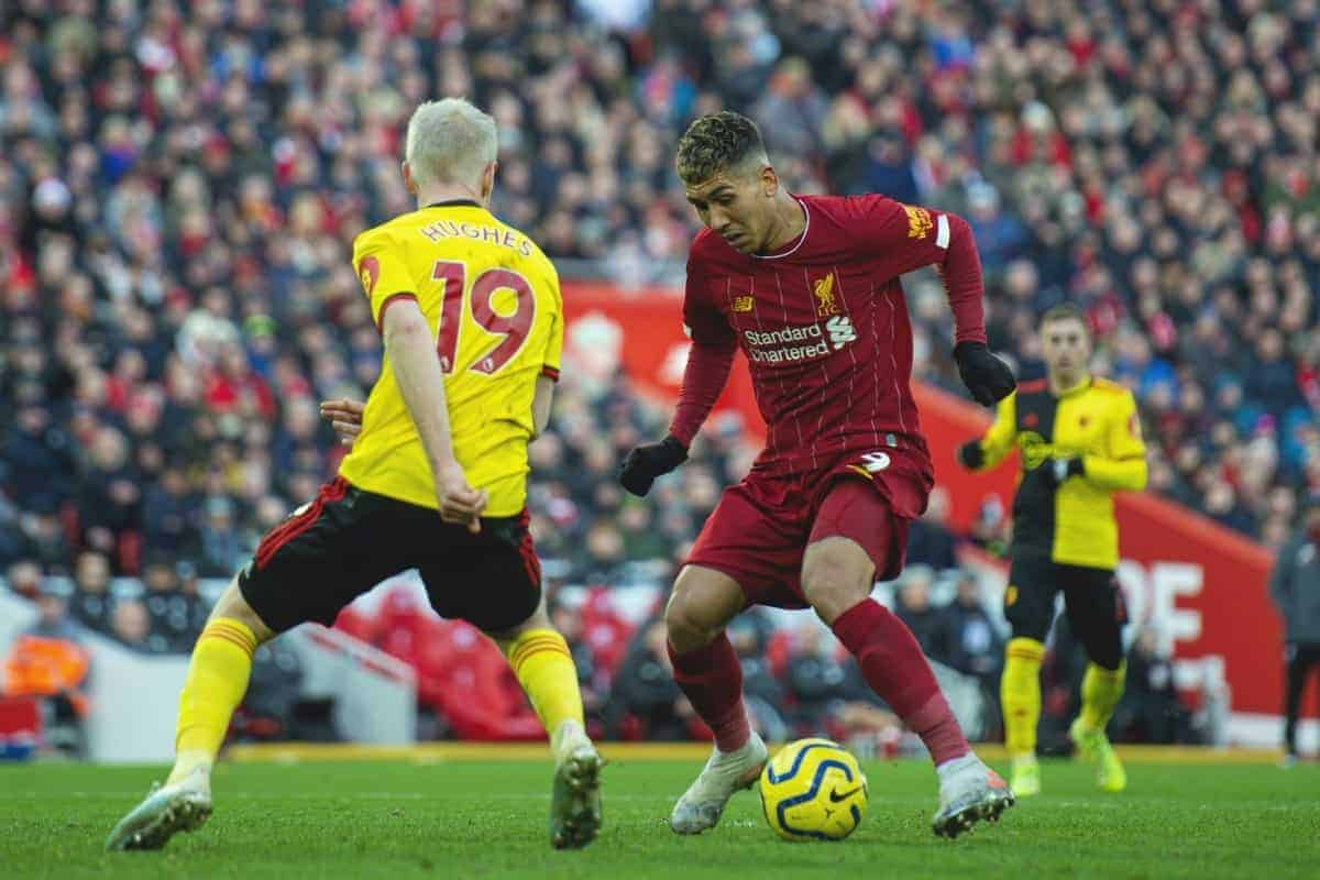 LIVERPOOL, ENGLAND - Saturday, December 14, 2019: Liverpool's Roberto Firmino (R) and Watford's Will Hughes during the FA Premier League match between Liverpool FC and Watford FC at Anfield. (Pic by Richard Roberts/Propaganda)