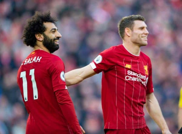 LIVERPOOL, ENGLAND - Saturday, December 14, 2019: Liverpool's Mohamed Salah (L) celebrates scoring the second goal with team-mate James Milner during the FA Premier League match between Liverpool FC and Watford FC at Anfield. (Pic by Richard Roberts/Propaganda)