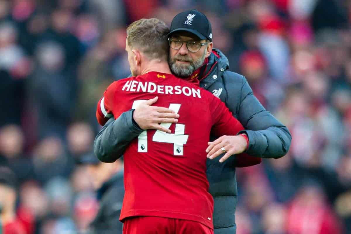LIVERPOOL, ENGLAND - Saturday, December 14, 2019: Liverpool's manager Jürgen Klopp celebrates with captain Jordan Henderson after the FA Premier League match between Liverpool FC and Watford FC at Anfield. Liverpool won 2-0. (Pic by Richard Roberts/Propaganda)