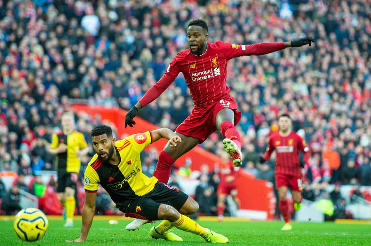 LIVERPOOL, ENGLAND - Saturday, December 14, 2019: Liverpool's Divock Origi shoots during the FA Premier League match between Liverpool FC and Watford FC at Anfield. (Pic by Richard Roberts/Propaganda)