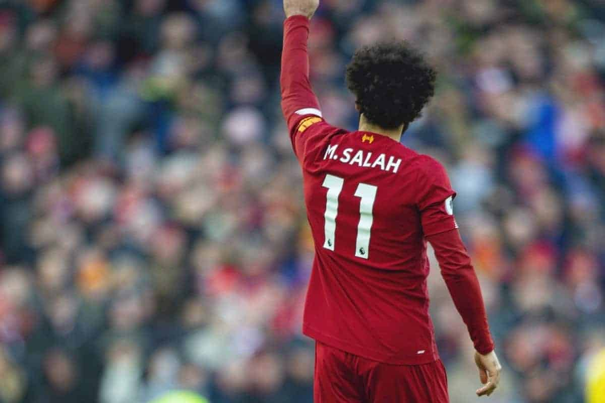 LIVERPOOL, ENGLAND - Saturday, December 14, 2019: Liverpool's Mohamed Salah celebrates scoring the second goal during the FA Premier League match between Liverpool FC and Watford FC at Anfield. (Pic by Richard Roberts/Propaganda)