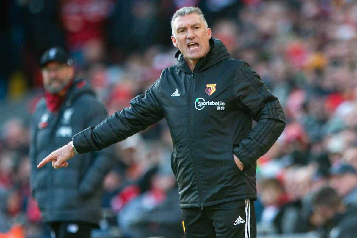 LIVERPOOL, ENGLAND - Saturday, December 14, 2019: Watford's manager Nigel Pearson during the FA Premier League match between Liverpool FC and Watford FC at Anfield. (Pic by Richard Roberts/Propaganda)