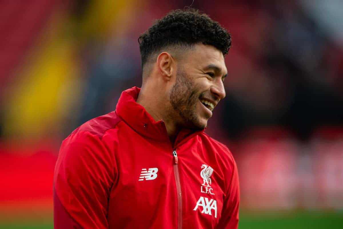 LIVERPOOL, ENGLAND - Saturday, December 14, 2019: Liverpool's Alex Oxlade-Chamberlain during the pre-match warm-up before the FA Premier League match between Liverpool FC and Watford FC at Anfield. (Pic by Richard Roberts/Propaganda)
