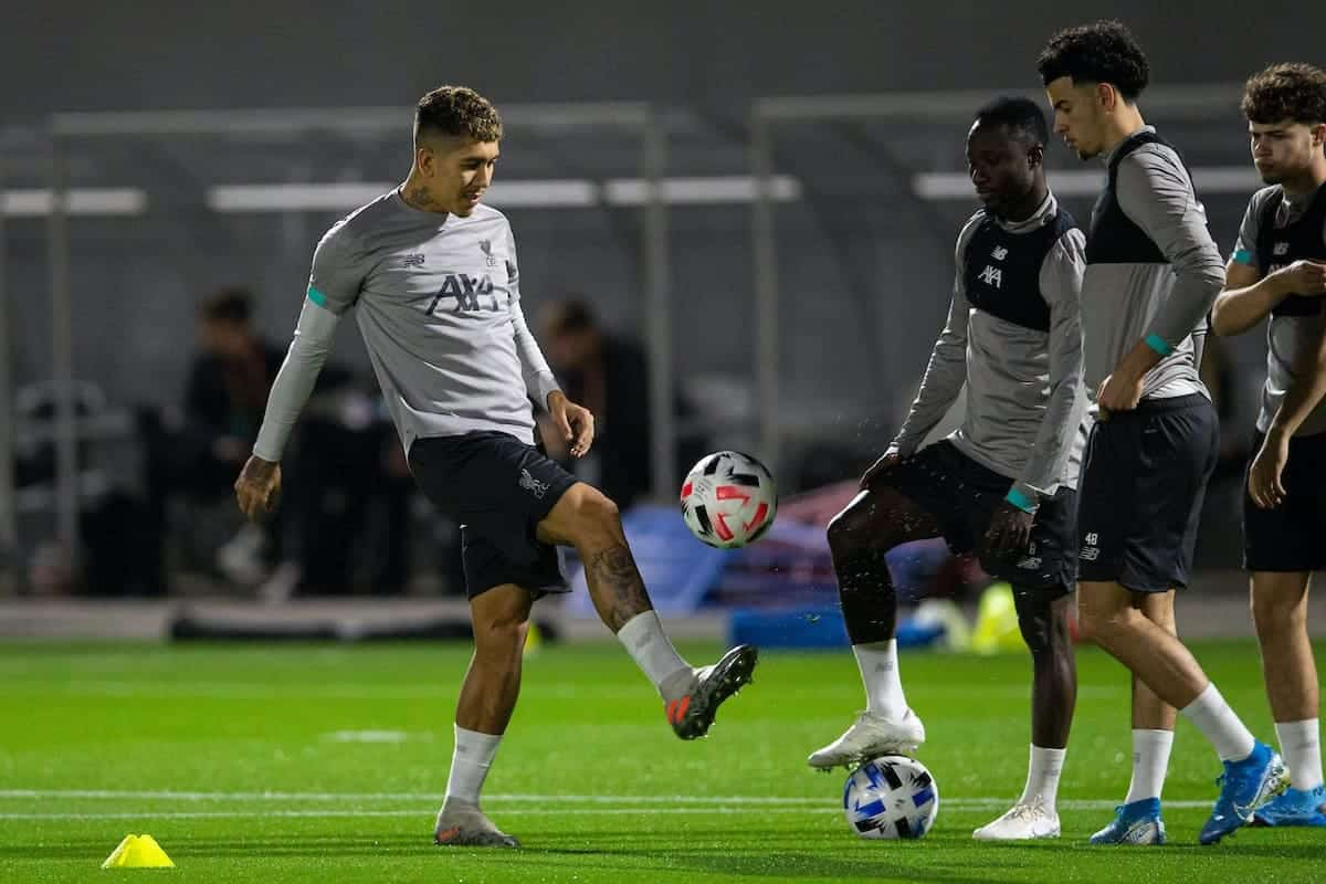DOHA, QATAR - Monday, December 16, 2019: Liverpool's Roberto Firmino (L) during a training session ahead of the FIFA Club World Cup Semi-Final match between CF Monterrey and Liverpool FC at the Qatar University. (Pic by David Rawcliffe/Propaganda)