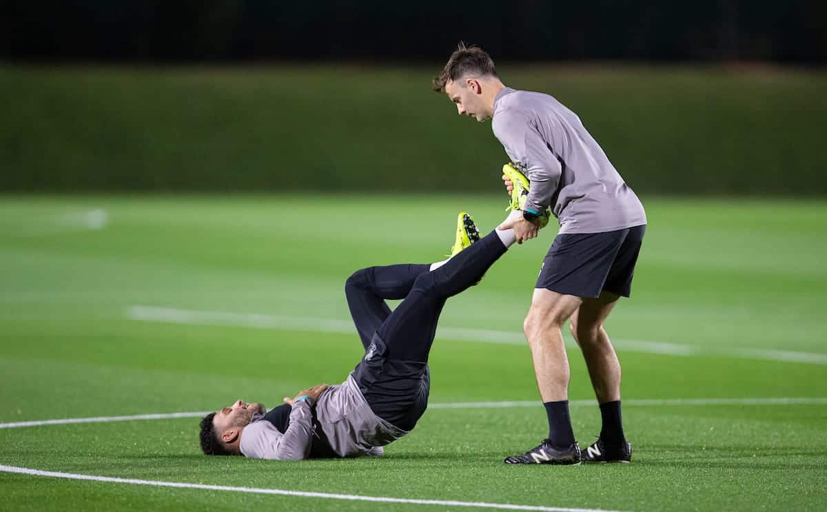 DOHA, QATAR - Monday, December 16, 2019: Liverpool's Alex Oxlade-Chamberlain receives treatment during a training session ahead of the FIFA Club World Cup Semi-Final match between CF Monterrey and Liverpool FC at the Qatar University. (Pic by David Rawcliffe/Propaganda)