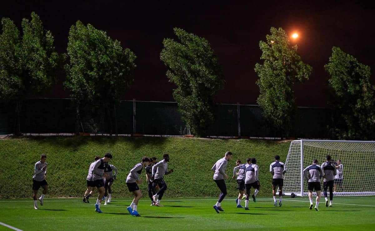DOHA, QATAR - Monday, December 16, 2019: Liverpool players during a training session ahead of the FIFA Club World Cup Semi-Final match between CF Monterrey and Liverpool FC at the Qatar University. (Pic by David Rawcliffe/Propaganda)