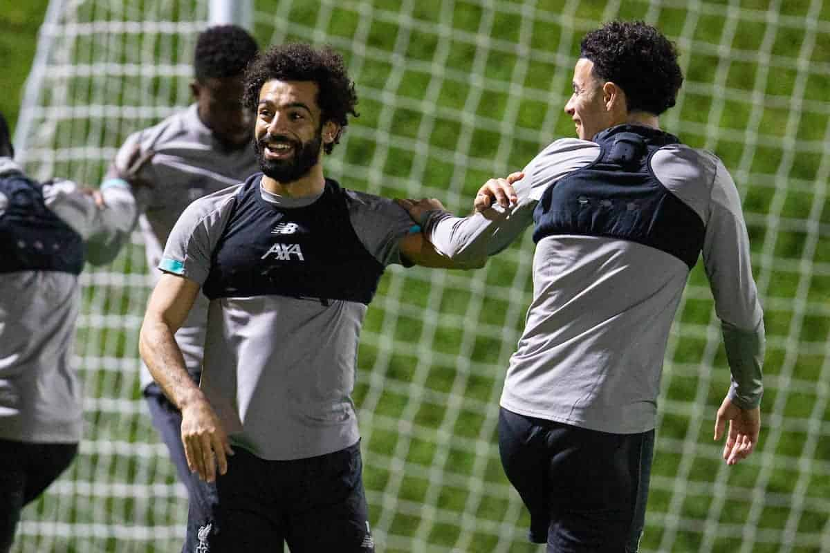 DOHA, QATAR - Monday, December 16, 2019: Liverpool's Mohamed Salah during a training session ahead of the FIFA Club World Cup Semi-Final match between CF Monterrey and Liverpool FC at the Qatar University. (Pic by David Rawcliffe/Propaganda)