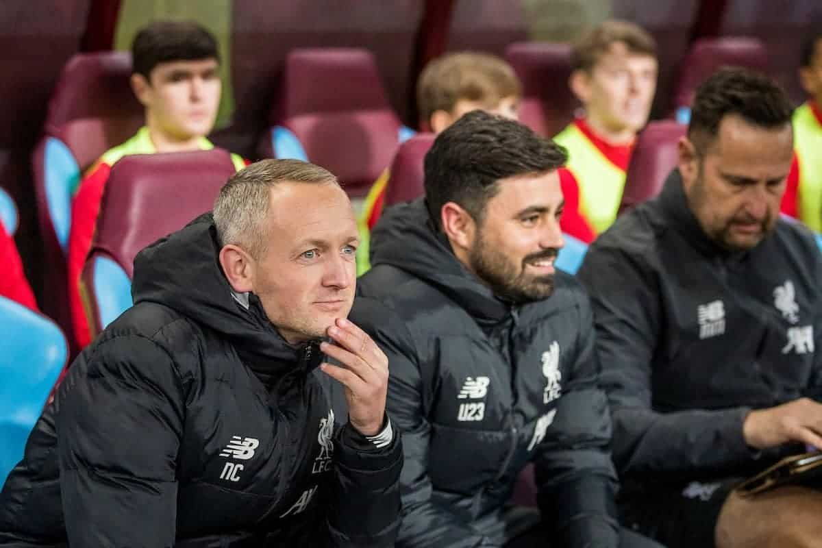 BIRMINGHAM, ENGLAND - Tuesday, December 17, 2019: Liverpool's manager Neil Critchley during the Football League Cup Quarter-Final between Aston Villa FC and Liverpool FC at Villa Park. (Pic by Paul Greenwood/Propaganda)