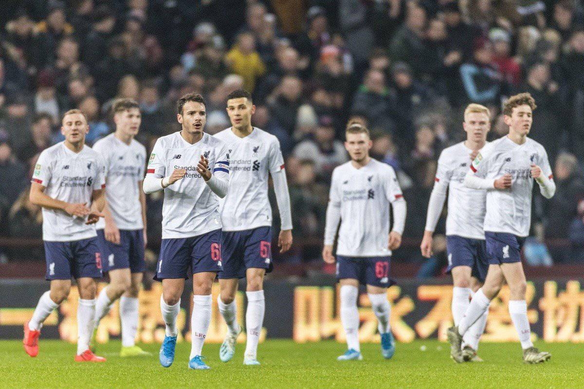 BIRMINGHAM, ENGLAND - Tuesday, December 17, 2019: Liverpool players show a look of dejection after conceding the opening goal during the Football League Cup Quarter-Final between Aston Villa FC and Liverpool FC at Villa Park. (Pic by Paul Greenwood/Propaganda)