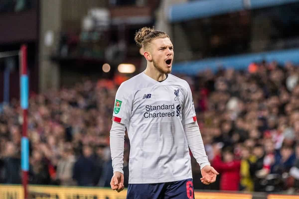 BIRMINGHAM, ENGLAND - Tuesday, December 17, 2019: Liverpool's Harvey Elliott encourages supporters to make more noise during the Football League Cup Quarter-Final between Aston Villa FC and Liverpool FC at Villa Park. (Pic by Paul Greenwood/Propaganda)