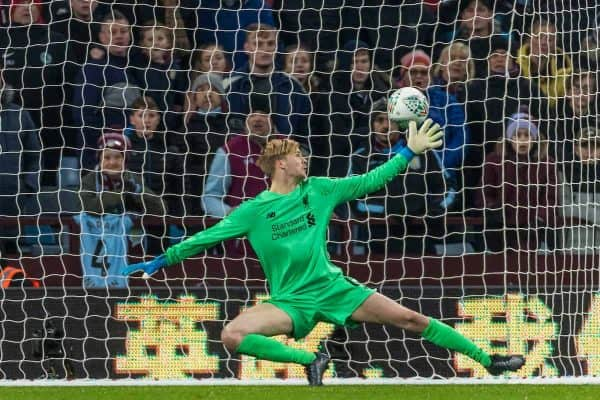 BIRMINGHAM, ENGLAND - Tuesday, December 17, 2019: Liverpool goalkeeper Caoimhin Kelleher concedes the fourth goal during the Football League Cup Quarter-Final between Aston Villa FC and Liverpool FC at Villa Park. (Pic by Paul Greenwood/Propaganda)