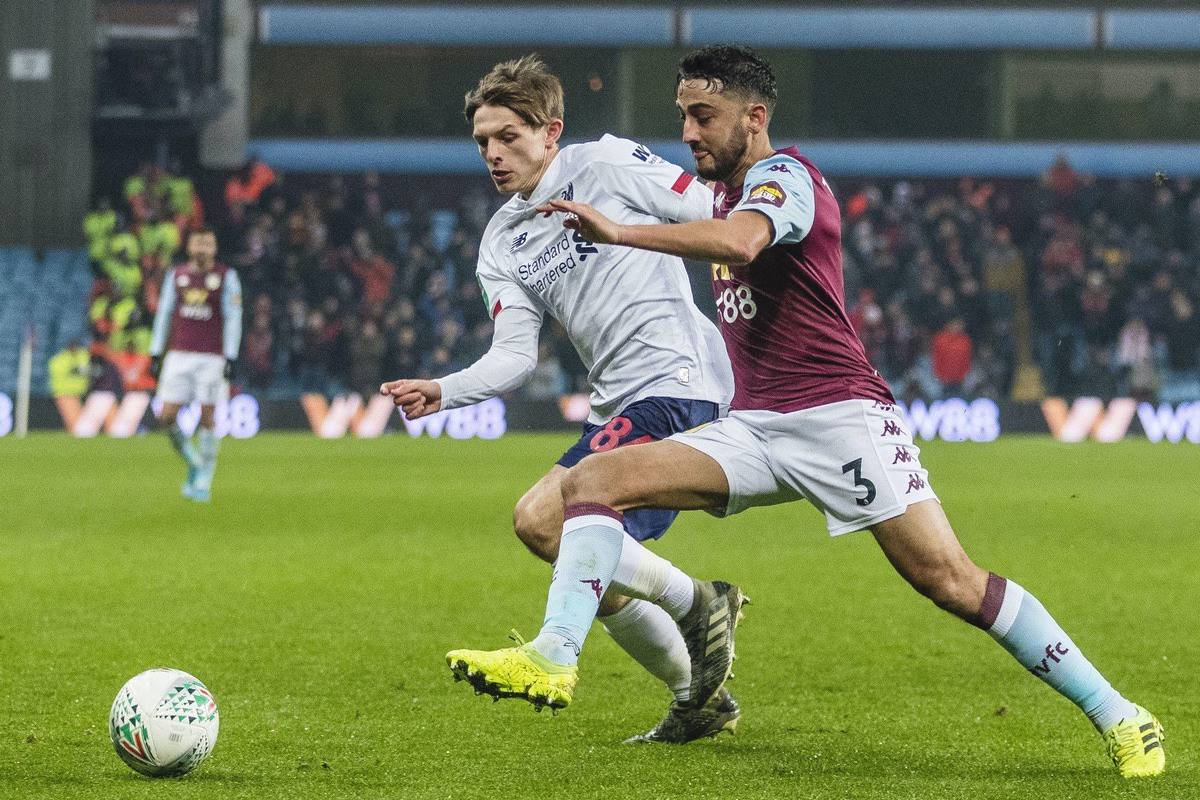 BIRMINGHAM, ENGLAND - Tuesday, December 17, 2019: Liverpool's Leighton Clarkson competes with Aston Villa's Neil Taylor during the Football League Cup Quarter-Final between Aston Villa FC and Liverpool FC at Villa Park. (Pic by Paul Greenwood/Propaganda)