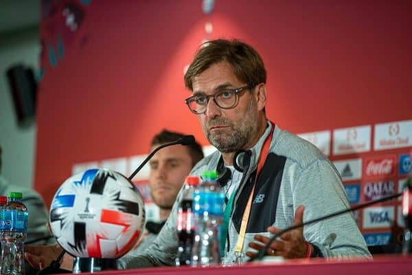 DOHA, QATAR - Tuesday, December 17, 2019: Liverpool's manager Jürgen Klopp during a press conference at the Khalifa Stadium ahead of the FIFA Club World Cup Semi-Final match between CF Monterrey and Liverpool FC. (Pic by David Rawcliffe/Propaganda)
