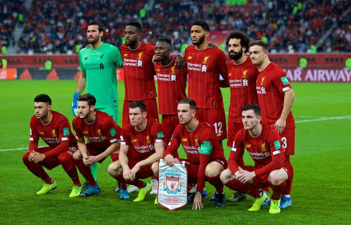 DOHA, QATAR - Wednesday, December 18, 2019: Liverpool's players line-up for a team group photograph before the FIFA Club World Cup Qatar 2019 Semi-Final match between CF Monterrey and Liverpool FC at the Khalifa Stadium. Back row L-R: goalkeeper Alisson Becker, Divock Origi, Naby Keita, Joe Gomez, Mohamed Salah, Xherdan Shaqiri. Front row L-R: Alex Oxlade-Chamberlain, Adam Lallana, James Milner, captain Jordan Henderson, Andy Robertson. (Pic by David Rawcliffe/Propaganda)
