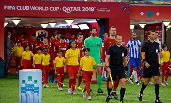 DOHA, QATAR - Wednesday, December 18, 2019: Liverpool's captain Jordan Henderson leads his team out before the FIFA Club World Cup Qatar 2019 Semi-Final match between CF Monterrey and Liverpool FC at the Khalifa Stadium. (Pic by David Rawcliffe/Propaganda)