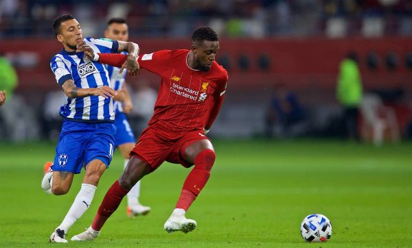 DOHA, QATAR - Wednesday, December 18, 2019: Liverpool's Divock Origi (L) during the FIFA Club World Cup Qatar 2019 Semi-Final match between CF Monterrey and Liverpool FC at the Khalifa Stadium. (Pic by David Rawcliffe/Propaganda)