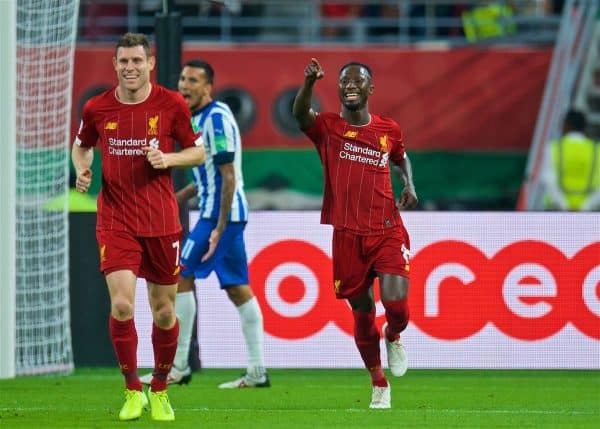 DOHA, QATAR - Wednesday, December 18, 2019: Liverpool's Naby Keita celebrates scoring the second goal during the FIFA Club World Cup Qatar 2019 Semi-Final match between CF Monterrey and Liverpool FC at the Khalifa Stadium. (Pic by Peter Powell/Propaganda)