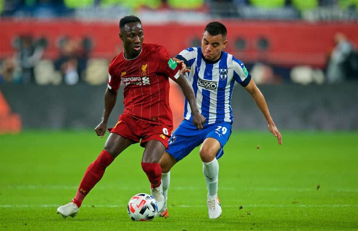 DOHA, QATAR - Wednesday, December 18, 2019: Liverpool's Naby Keita (L) and CF Monterrey's Carlos Rodriguez during the FIFA Club World Cup Qatar 2019 Semi-Final match between CF Monterrey and Liverpool FC at the Khalifa Stadium. (Pic by Peter Powell/Propaganda)