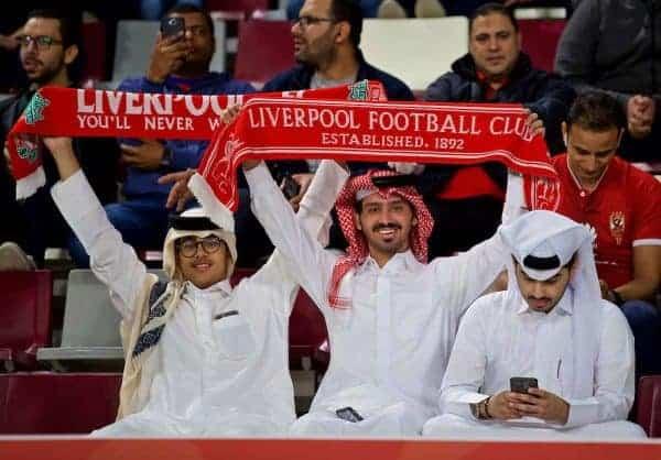 DOHA, QATAR - Wednesday, December 18, 2019: Qatari Liverpool supporters before the FIFA Club World Cup Qatar 2019 Semi-Final match between CF Monterrey and Liverpool FC at the Khalifa Stadium. (Pic by David Rawcliffe/Propaganda)