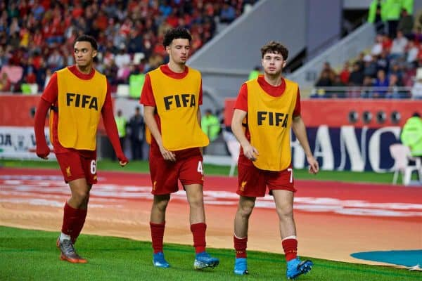 DOHA, QATAR - Wednesday, December 18, 2019: Liverpool substitutes Trent Alexander-Arnold (L), Curtis Jones (C) and Neco Williams (R) during the FIFA Club World Cup Qatar 2019 Semi-Final match between CF Monterrey and Liverpool FC at the Khalifa Stadium. (Pic by David Rawcliffe/Propaganda)
