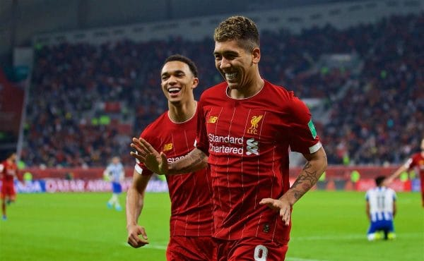DOHA, QATAR - Wednesday, December 18, 2019: Liverpool's Roberto Firmino (R) celebrates scoring the second goal with team-mate Trent Alexander-Arnold during the FIFA Club World Cup Qatar 2019 Semi-Final match between CF Monterrey and Liverpool FC at the Khalifa Stadium. (Pic by David Rawcliffe/Propaganda)