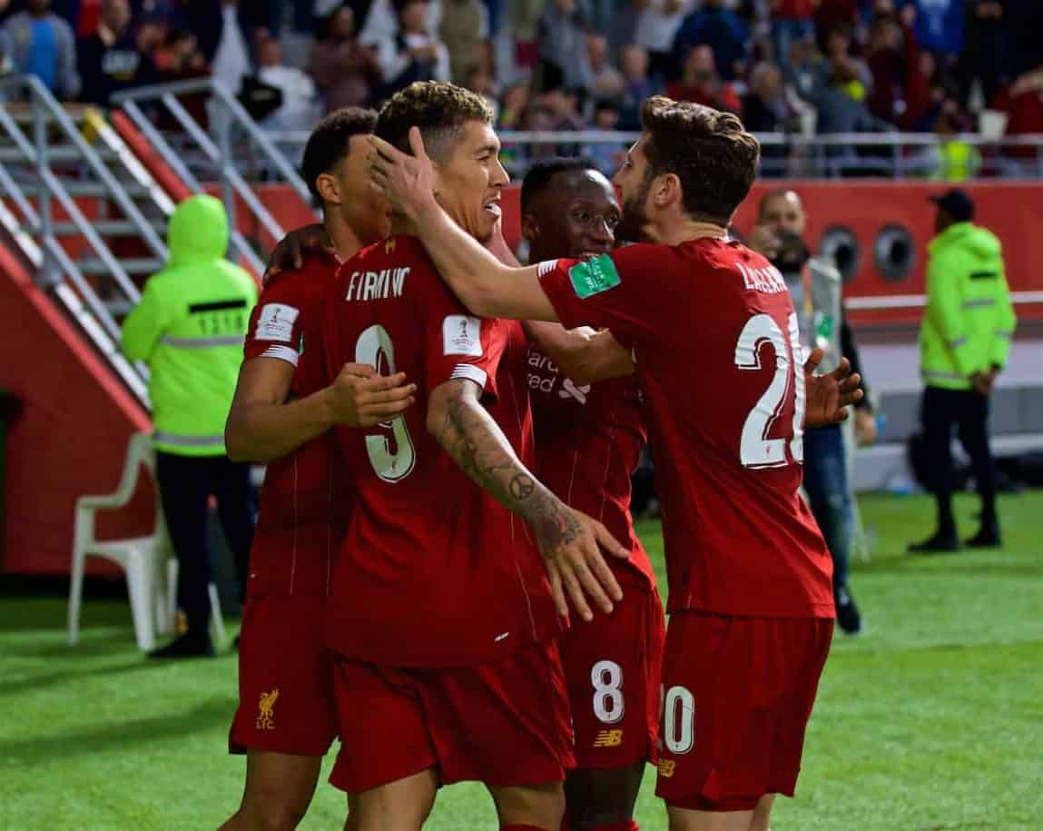 DOHA, QATAR - Wednesday, December 18, 2019: Liverpool's Roberto Firmino celebrates scoring the second goal in injury time with team-mate Adam Lallana during the FIFA Club World Cup Qatar 2019 Semi-Final match between CF Monterrey and Liverpool FC at the Khalifa Stadium. Liverpool won 2-1. (Pic by David Rawcliffe/Propaganda)