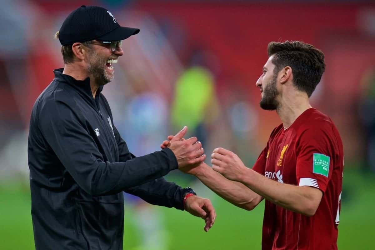 DOHA, QATAR - Wednesday, December 18, 2019: Liverpool's manager Jürgen Klopp (L) celebrates with Adam Lallana after the FIFA Club World Cup Qatar 2019 Semi-Final match between CF Monterrey and Liverpool FC at the Khalifa Stadium. Liverpool won 2-1. (Pic by Peter Powell/Propaganda)