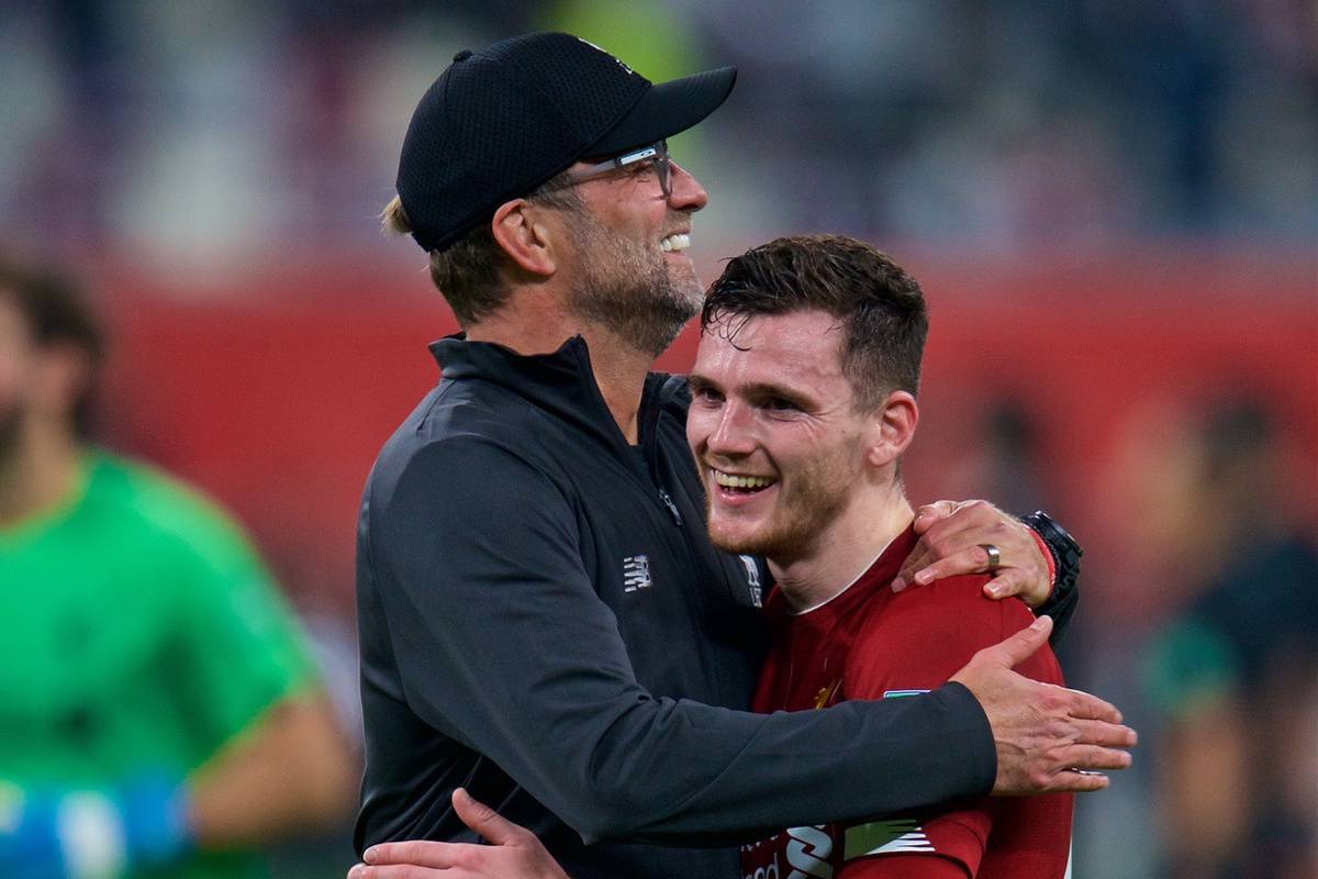 DOHA, QATAR - Wednesday, December 18, 2019: Liverpool's manager Jürgen Klopp (L) celebrates with Andy Robertson after the FIFA Club World Cup Qatar 2019 Semi-Final match between CF Monterrey and Liverpool FC at the Khalifa Stadium. Liverpool won 2-1. (Pic by Peter Powell/Propaganda)