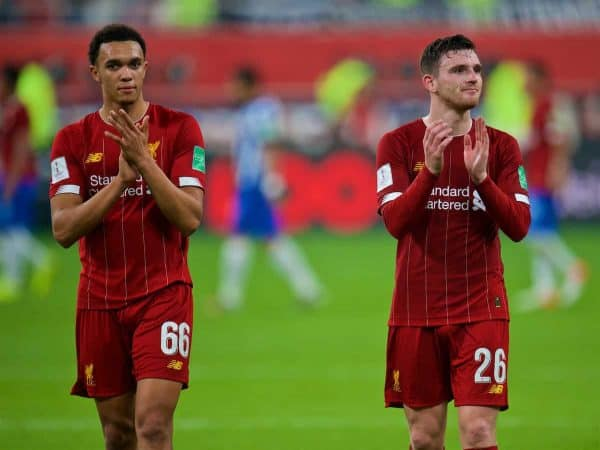 DOHA, QATAR - Wednesday, December 18, 2019: Liverpool's Trent Alexander-Arnold (L) and Andy Robertson celebrate after the FIFA Club World Cup Qatar 2019 Semi-Final match between CF Monterrey and Liverpool FC at the Khalifa Stadium. Liverpool won 2-1. (Pic by Peter Powell/Propaganda)