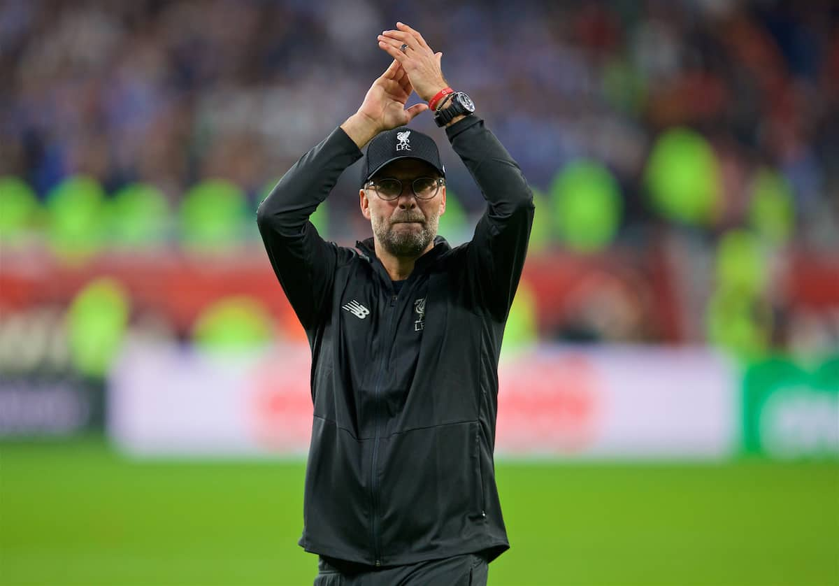 DOHA, QATAR - Wednesday, December 18, 2019: Liverpool's manager Jürgen Klopp applauds the supporters after the FIFA Club World Cup Qatar 2019 Semi-Final match between CF Monterrey and Liverpool FC at the Khalifa Stadium. Liverpool won 2-1. (Pic by Peter Powell/Propaganda)