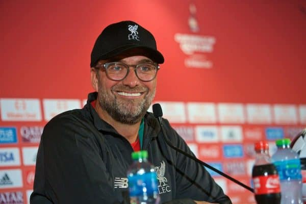 Liverpool's manager Jürgen Klopp during a press conference ahead of the FIFA Club World Cup Qatar 2019 Final match between CR Flamengo and Liverpool FC at the Khalifa Stadium. (Pic by Peter Powell/Propaganda)