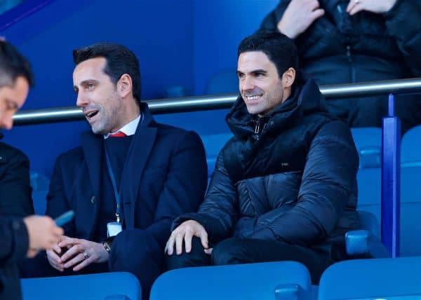 LIVERPOOL, ENGLAND - Saturday, December 21, 2019: Arsenal's new manager Mikel Arteta during the FA Premier League match between Everton FC and Arsenal FC at Goodison Park. (Pic by Laura Malkin/Propaganda)