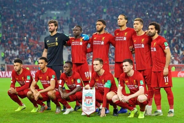 DOHA, QATAR - Saturday, December 21, 2019: Liverpool's players line-up for a team group photograph before during the FIFA Club World Cup Qatar 2019 Final match between CR Flamengo and Liverpool FC at the Khalifa Stadium. Back row L-R: goalkeeper Alisson Becker, Said Mané, Joe Gomez, Virgil van Dijk, Roberto Firmino, Mohamed Salah. Front row L-R: Alex Oxlade-Chamberlain, Trent Alexander-Arnold, Naby Keita, captain Jordan Henderson, Andy Robertson. (Pic by David Rawcliffe/Propaganda)