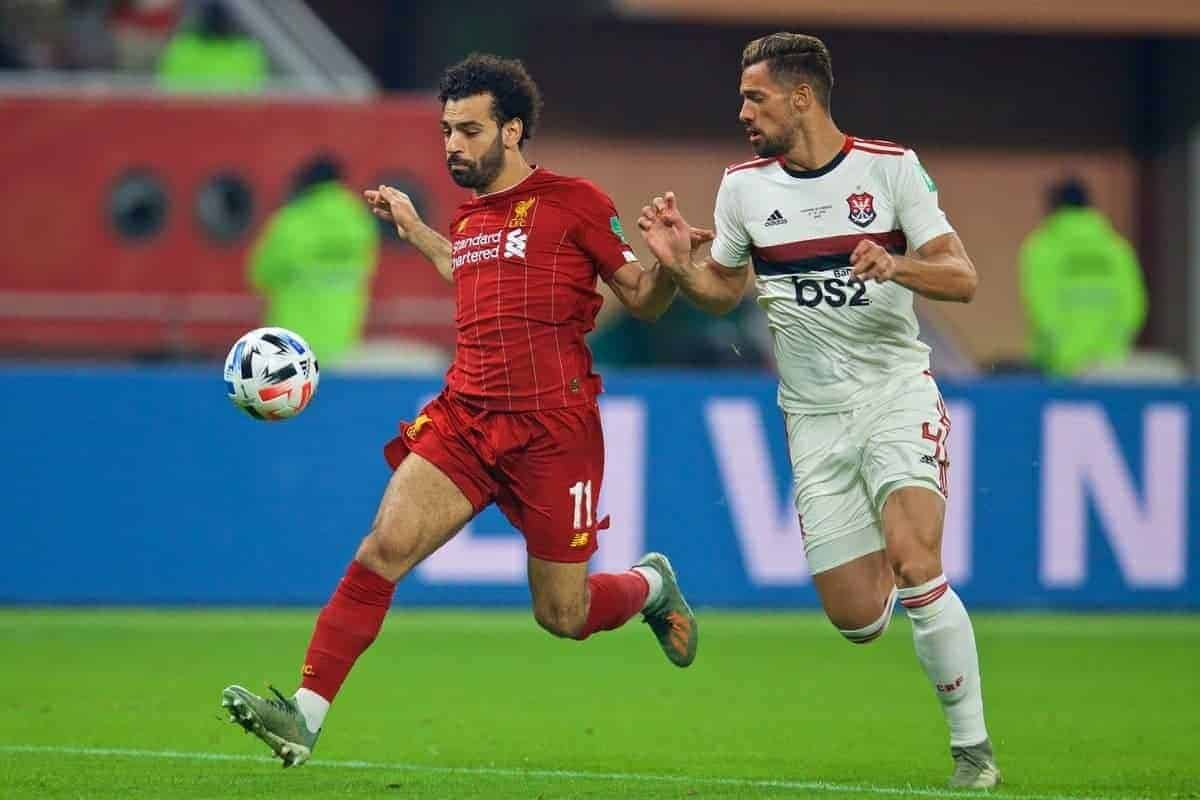 DOHA, QATAR - Saturday, December 21, 2019: Liverpool's Mohamed Salah (L) and CR Flamengo's Pablo Marí during the FIFA Club World Cup Qatar 2019 Final match between CR Flamengo and Liverpool FC at the Khalifa Stadium. (Pic by David Rawcliffe/Propaganda)