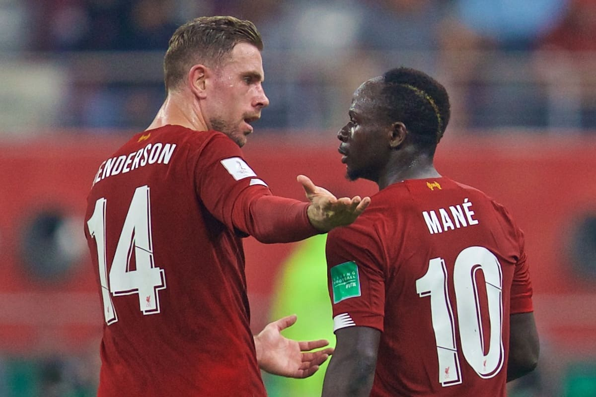 DOHA, QATAR - Saturday, December 21, 2019: Liverpool's captain Jordan Henderson (L) speaks with Sadio Mané during the FIFA Club World Cup Qatar 2019 Final match between CR Flamengo and Liverpool FC at the Khalifa Stadium. (Pic by David Rawcliffe/Propaganda)