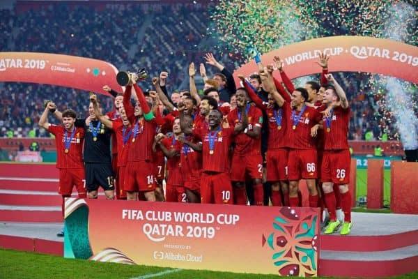 DOHA, QATAR - Saturday, December 21, 2019: Liverpool's captain Jordan Henderson lifts FIFA Club World Cup trophy after the FIFA Club World Cup Qatar 2019 Final match between CR Flamengo and Liverpool FC at the Khalifa Stadium. Liverpool won 1-0. (Pic by David Rawcliffe/Propaganda)