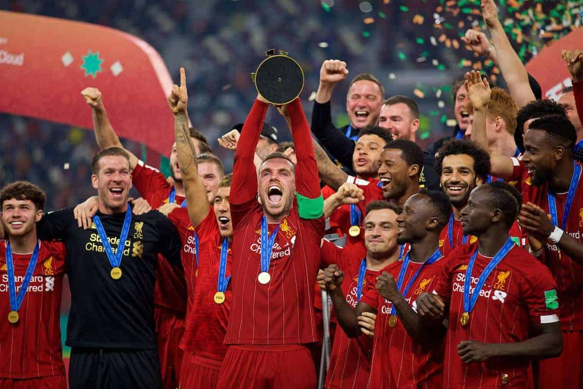 DOHA, QATAR - Saturday, December 21, 2019: Liverpool's captain Jordan Henderson lifts FIFA Club World Cup trophy after the FIFA Club World Cup Qatar 2019 Final match between CR Flamengo and Liverpool FC at the Khalifa Stadium. Liverpool won 1-0. (Pic by David Rawcliffe/Propaganda)